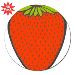 'Strawberry' Rectangle 3&quot; Lapel Sticker (48 pk)