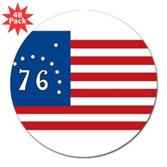"Bennington Battle Flag Rectangle 3"" Lapel Sticker (48 pk)"
