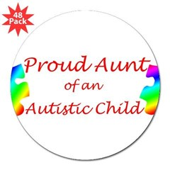 "Autism Aunt 3"" Lapel Sticker (48 pk)"