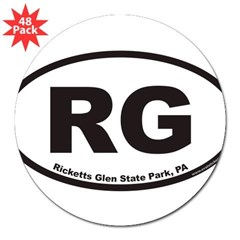 "Ricketts Glen State Park RG Euro Oval 3"" Lapel Sticker (48 pk)"