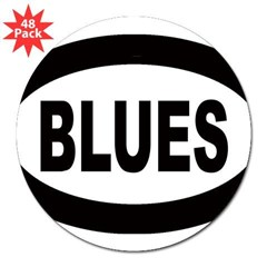 "Blues Oval 3"" Lapel Sticker (48 pk)"