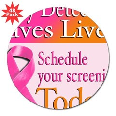Early Detection Saves Lives Oval 3&quot; Lapel Sticker (48 pk)