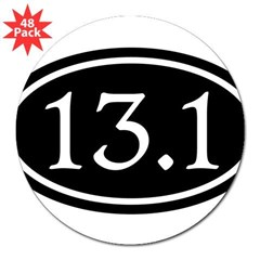 "13.1 Half Marathon Oval 3"" Lapel Sticker (48 pk)"