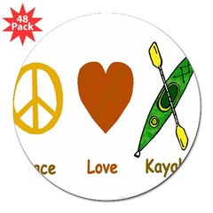 "Peace,Luv,Kayak 3"" Lapel Sticker (48 pk)"