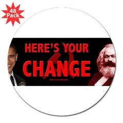 "Obama and his mentor Karl Marx 3"" Lapel Sticker (48 pk)"