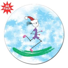 "Christmas Holiday Lady Runner Rectangle 3"" Lapel Sticker (48 pk)"