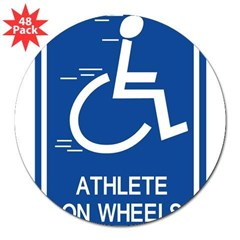 "'Athlete on Wheels' Rectangle 3"" Lapel Sticker (48 pk)"