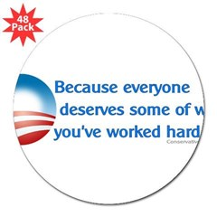 "Anti-Obama Because 3"" Lapel Sticker (48 pk)"