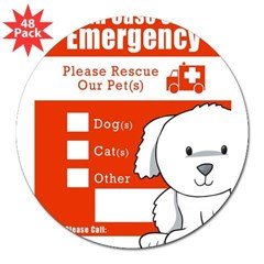 "In Case of Emergency Rectangle 3"" Lapel Sticker (48 pk)"