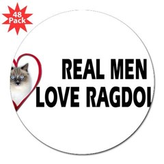 "Real Men Love Ragdolls 3"" Lapel Sticker (48 pk)"