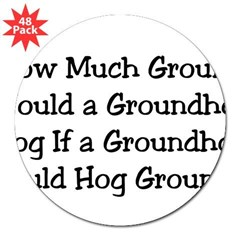 "Groundhog Rectangle 3"" Lapel Sticker (48 pk)"
