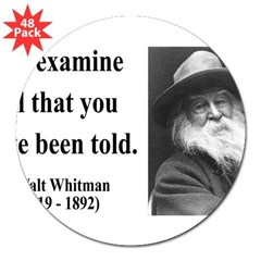 "Walter Whitman 11 Rectangle 3"" Lapel Sticker (48 pk)"