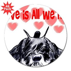 "schnauzer love 3"" Lapel Sticker (48 pk)"