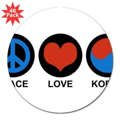 "Peace Love Korea Rectangle 3"" Lapel Sticker (48 pk)"