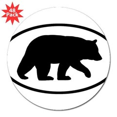 "Black Bear Oval 3"" Lapel Sticker (48 pk)"