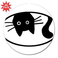 "Upside-Down Cat Oval 3"" Lapel Sticker (48 pk)"