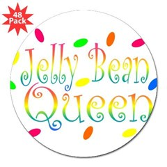 "Jelly Bean Queen Rectangle 3"" Lapel Sticker (48 pk)"
