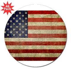 "Antique Flag Rectangle 3"" Lapel Sticker (48 pk)"