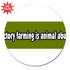 "Factory Farm Animal Abuse Vegetarian 3"" Lapel Sticker (48 pk)"