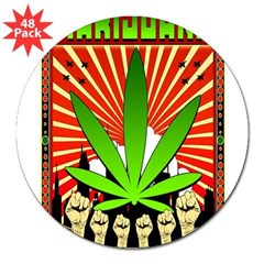 "MARIJUANA PROPAGANDA ART 3"" Lapel Sticker (48 pk)"