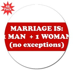 "Marriage is 1 Man + 1 Woman 3"" Lapel Sticker (48 pk)"