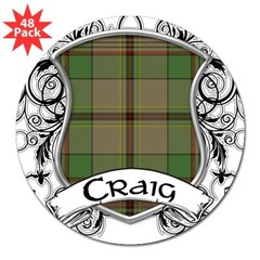 "Craig Tartan Shield 3"" Lapel Sticker (48 pk)"