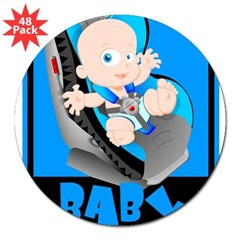 "Baby Onboard - Blue Rectangle 3"" Lapel Sticker (48 pk)"