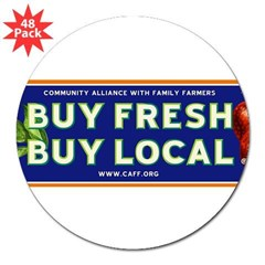 "Buy Fresh Buy Local classic 3"" Lapel Sticker (48 pk)"