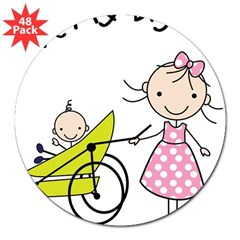 "little brother big sister matching shirt 3"" Lapel Sticker (48 pk)"