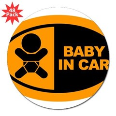 "Baby in Car Safety Sticker for Car 3"" Lapel Sticker (48 pk)"
