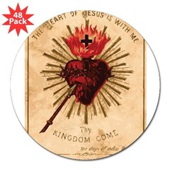 Heart of Jesus Rectangle 3&quot; Lapel Sticker (48 pk)