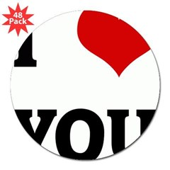 "I Love YOU 3"" Lapel Sticker (48 pk)"