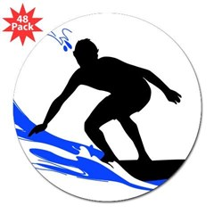 "Wave Surfing Oval 3"" Lapel Sticker (48 pk)"