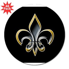 "Fleur de Lis on BLK Oval 3"" Lapel Sticker (48 pk)"
