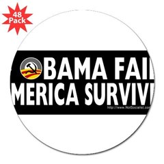 "Anti-Obama Obama Fails America Survives 3"" Lapel Sticker (48 pk)"