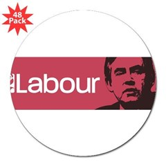 "Gordon Brown Labour Party 3"" Lapel Sticker (48 pk)"