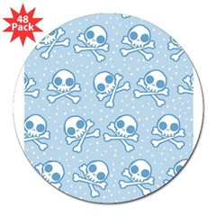 Cute Blue Skull 3&quot; Lapel Sticker (48 pk)
