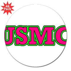 "Hot Pink & Green USMC 3"" Lapel Sticker (48 pk)"
