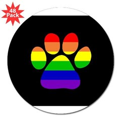 "Paw Pride - Black Small 3"" Lapel Sticker (48 pk)"