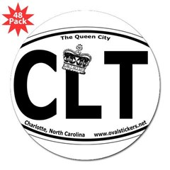 "Charlotte, NC ""Queen City"" Oval Sticker w/ Crown 3"" Lapel Sticker (48 pk)"