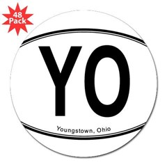 "Youngstown ""YO"" 3"" Lapel Sticker (48 pk)"