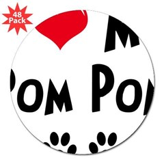 "I Love My Pom Pom 3"" Lapel Sticker (48 pk)"