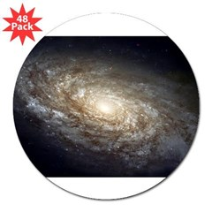 "NGC 4414 Spiral Galaxy Oval 3"" Lapel Sticker (48 pk)"