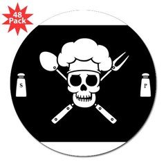 "Chef Pirate 3"" Lapel Sticker (48 pk)"