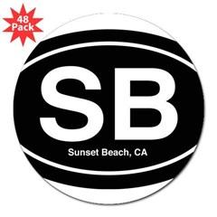 "Sunset Beach 3"" Lapel Sticker (48 pk)"
