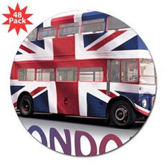 "London Bus with Union Jack an 3"" Lapel Sticker (48 pk)"