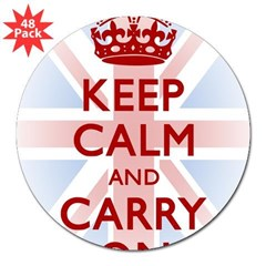 "Keep Calm and Carry On 3"" Lapel Sticker (48 pk)"