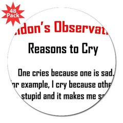 "Sheldon's Reasons to Cry 3"" Lapel Sticker (48 pk)"