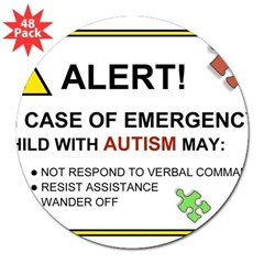 "Autism Emergency Warning Sticker for Car 3"" Lapel Sticker (48 pk)"