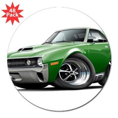 "1970 AMX Green Car 3"" Lapel Sticker (48 pk)"